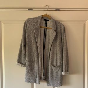 Grey pattern cardigan blazer